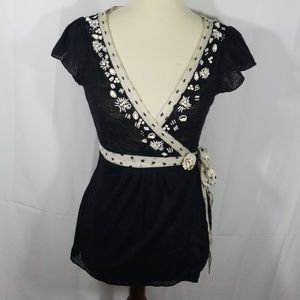 Anthro Deletta beaded lace wrap top w/brooch sz M